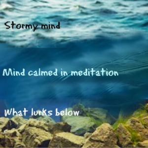shows mind states - active and stormy, calm through meditation, but rocks below waiting to trip you up again and again